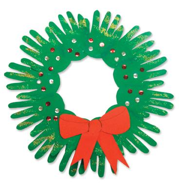 Craft Ideas Christmas on Christmas Wreath Hand Prints   Trace Those Sweet Hands And Create A