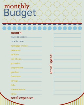 printable monthly budgets