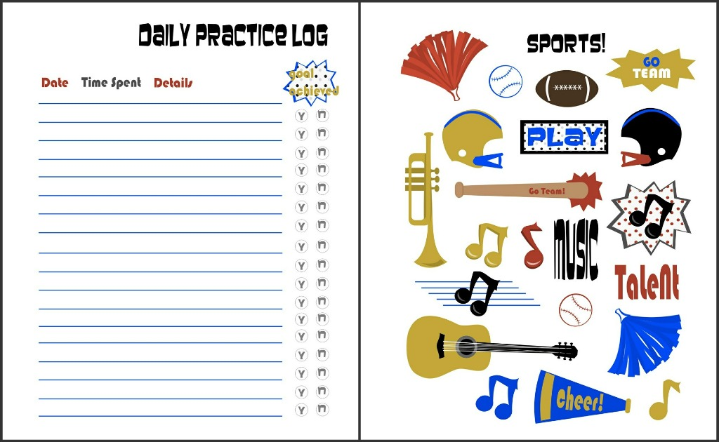 Free Printable Practice Sheets For Music and Sports - 24/7 Moms