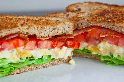 cheese and herb waffle toast bacon avocado egg tomato sandwich bacon ...