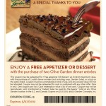 Olive Garden Coupon – Free Appetizer or Dessert!