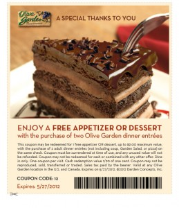 Olive Garden Coupon Free Appetizer or Dessert 247 Moms