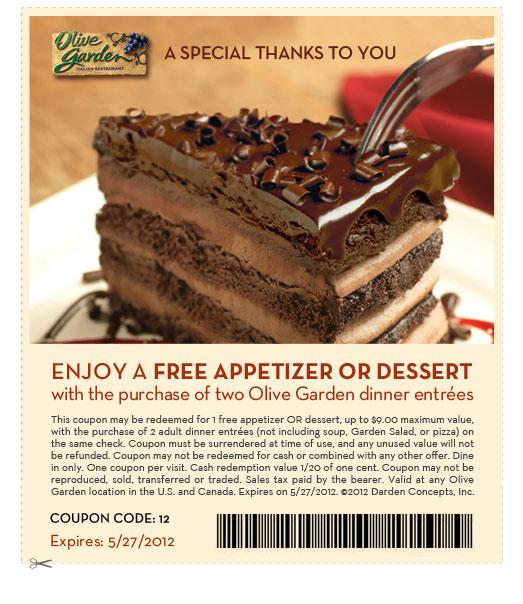 Olive Garden Coupon Free Appetizer Or Dessert 247 Moms
