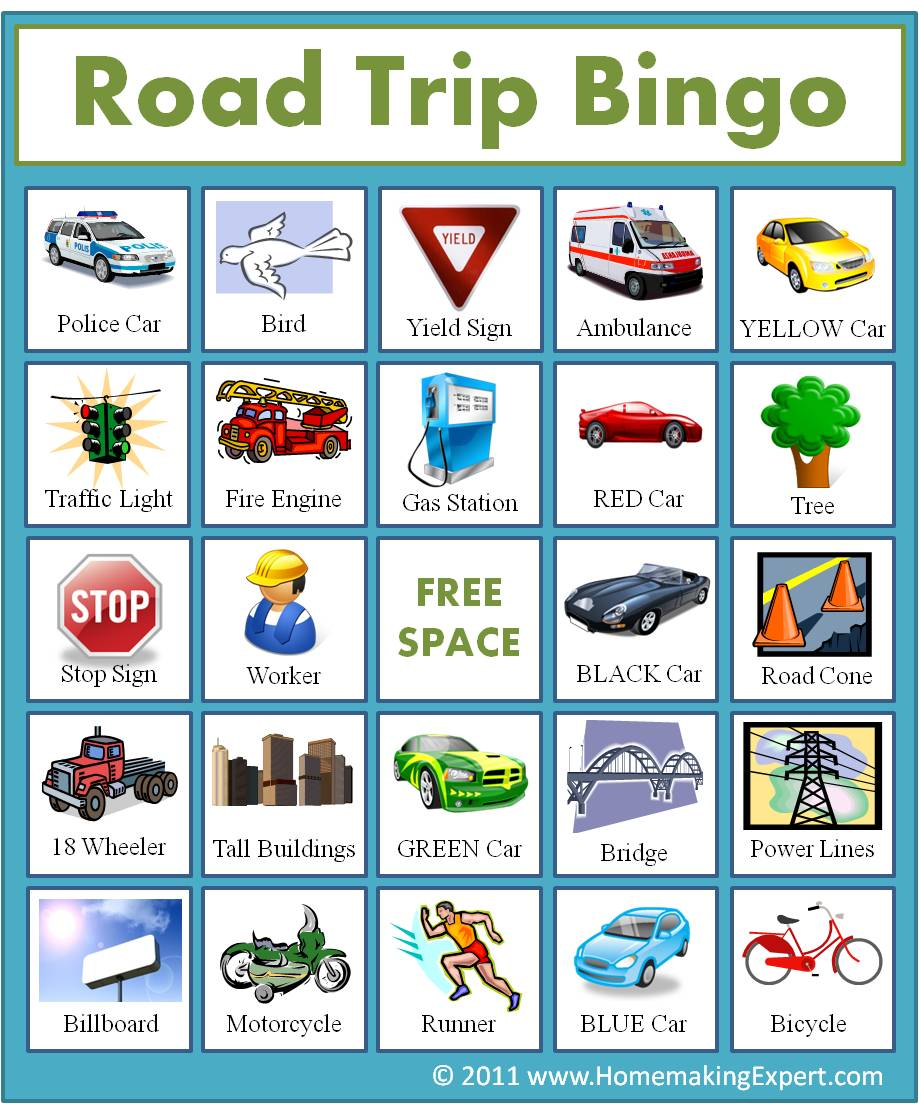 This is a graphic of Satisfactory Car Bingo Cards