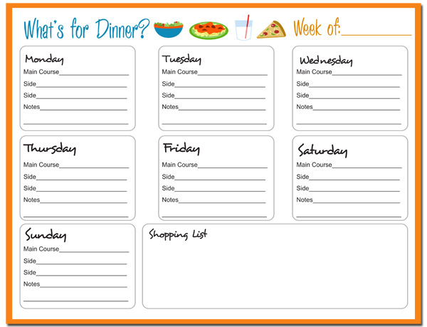 free printable menu templates for kids - weekly meal planner free printable 24 7 moms