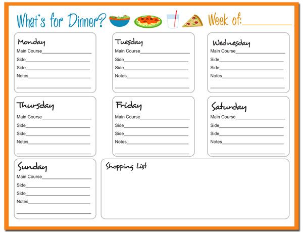 Weekly Meal Planner {FREE Printable} - 24/7 Moms