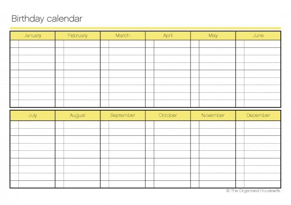 Free Birthday Chart Template