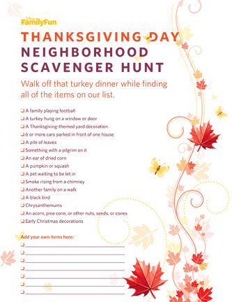 Thanksgiving scavenger hunt free printable 24 7 moms for Thanksgiving activities for adults