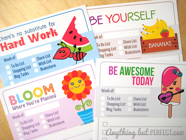 get motivated to check off your to do list with these four free fun printable lists from anything but perfect