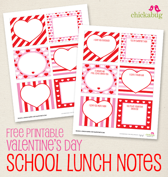 FREE Printable Valentines Day School Lunch Notes  247 Moms