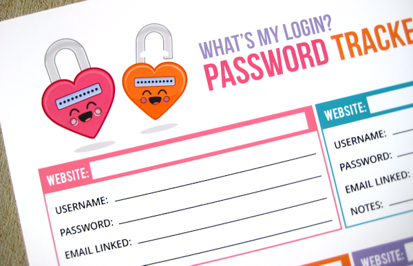 Free Password Tracker Printable - 24/7 Moms