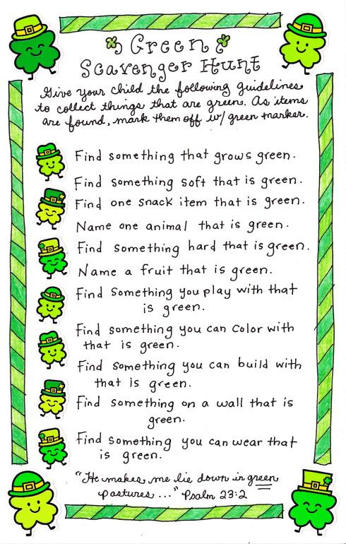 Free Green Scavenger Hunt Printable - 24/7 Moms