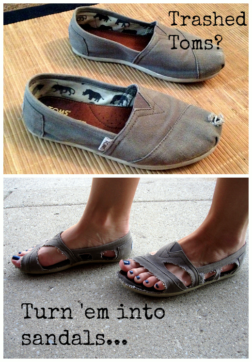 DIY Repurpose Your Toms Into Sandals -