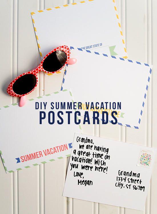 Free DIY Summer Vacation Postcard Printables