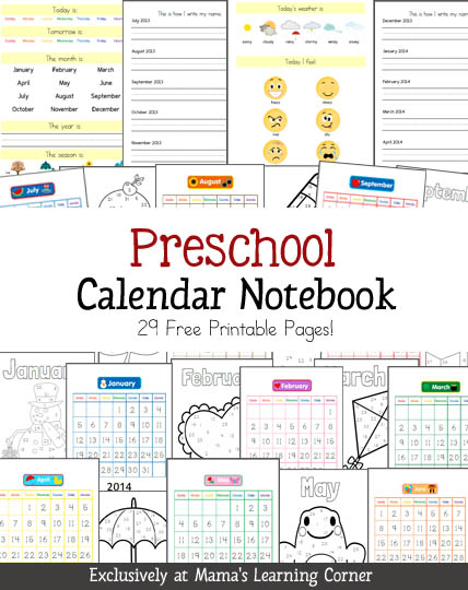 Kindergarten Calendar Work : Free preschool calendar notebook printable moms