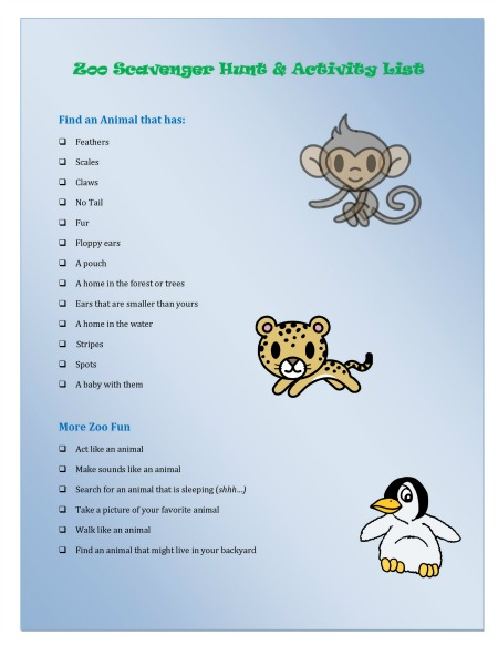 Free zoo scavenger hunt printable 24 7 moms