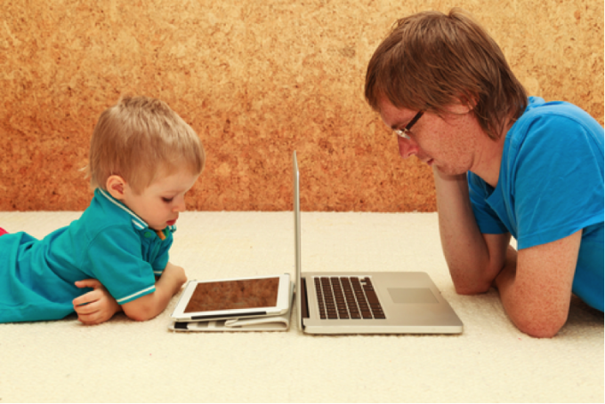 child and man laptop