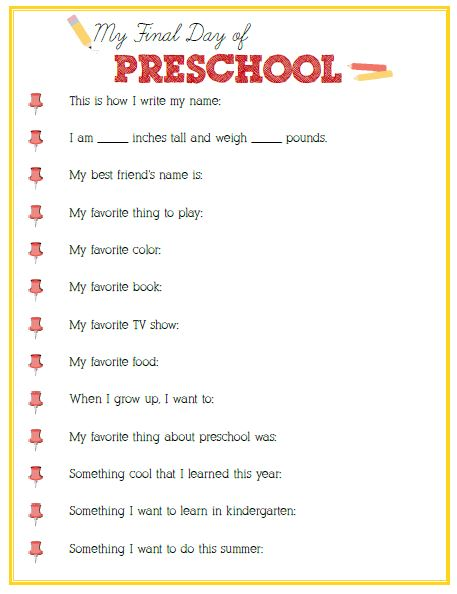 Free Final Day of Preschool Interview Printable - 24/7 Moms
