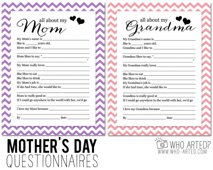Delightful One For Mom And One For Grandma. Each Questionnaire Has 12  Fill In The Blank Questions. Just Ask Your Child (or Grandchild) The  Questions And Help Record ...