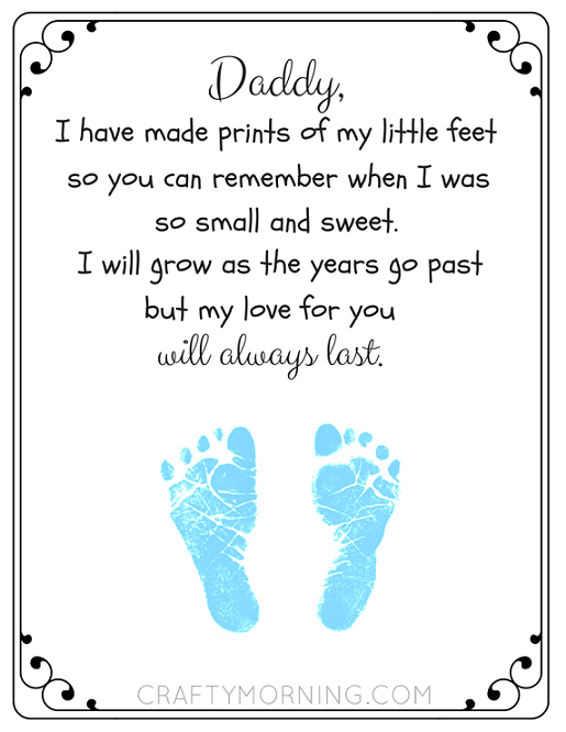 graphic relating to Father's Day Printable named No cost Fathers Working day Footprint Poem Printable - 24/7 Mothers