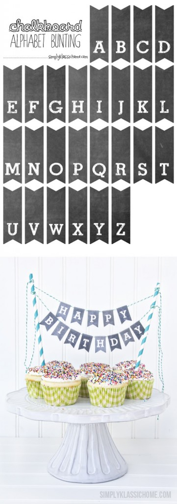 PrintableChalkboard Alphabet Bunting from Simply Klassic Home