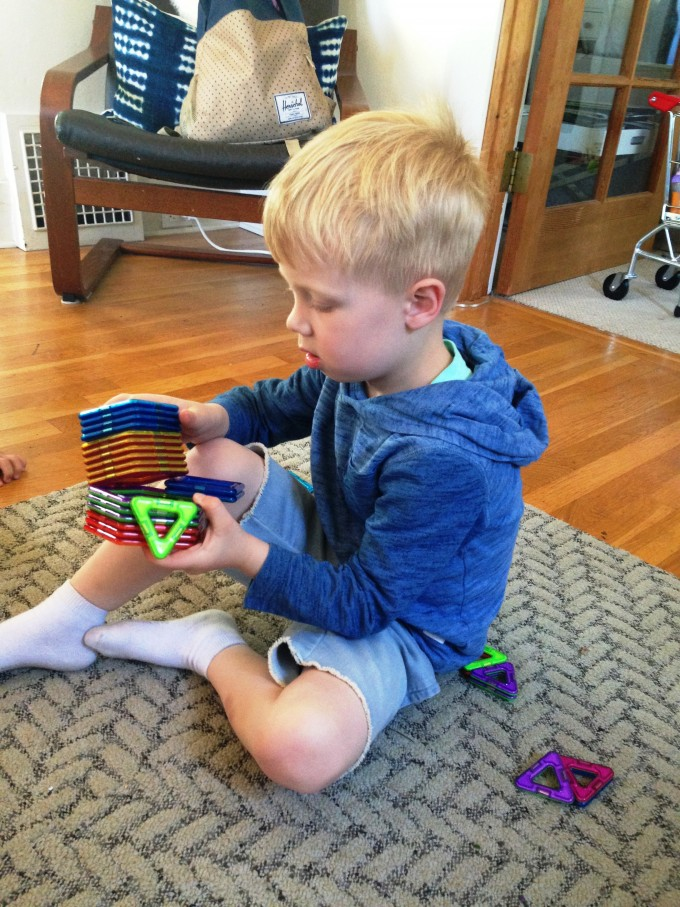 Miles playing with Magformers