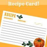 Free Fall Recipe Card Printable