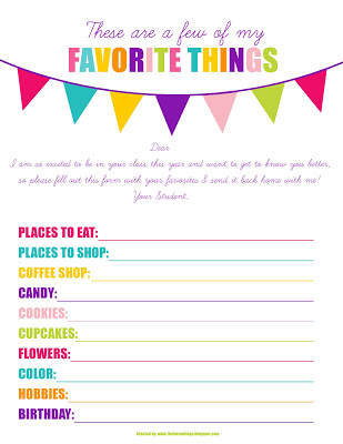 picture regarding Teacher Favorite Things Printable named Cost-free This sort of Are a Handful of of My Favored Elements Printable - 24/7 Mothers