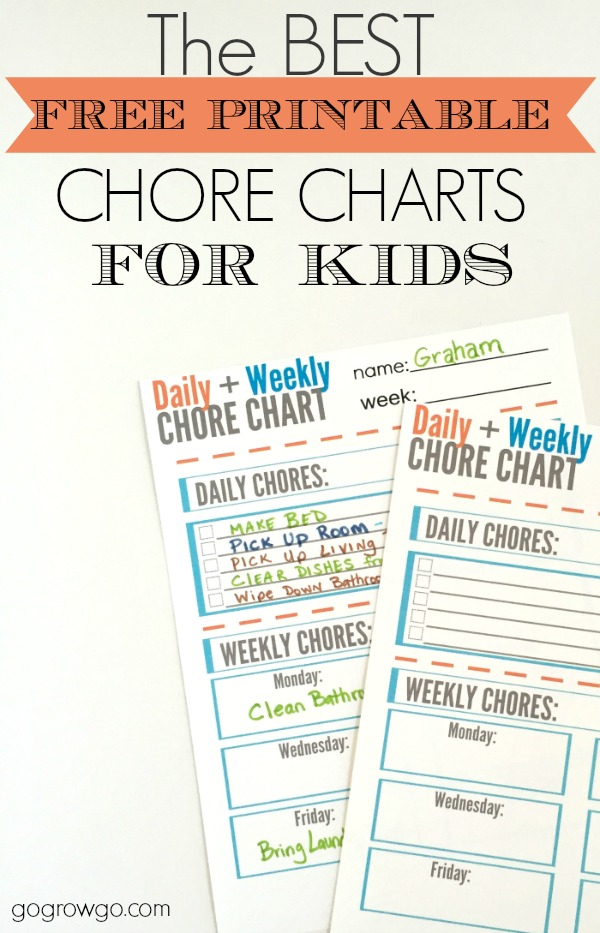 Free Chore Chart For Kids Printable   Moms
