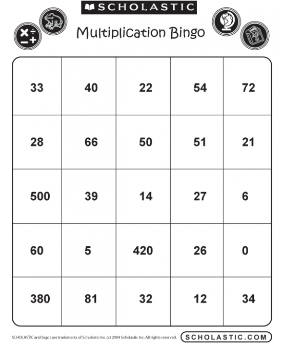 Massif image with regard to printable multiplication bingo
