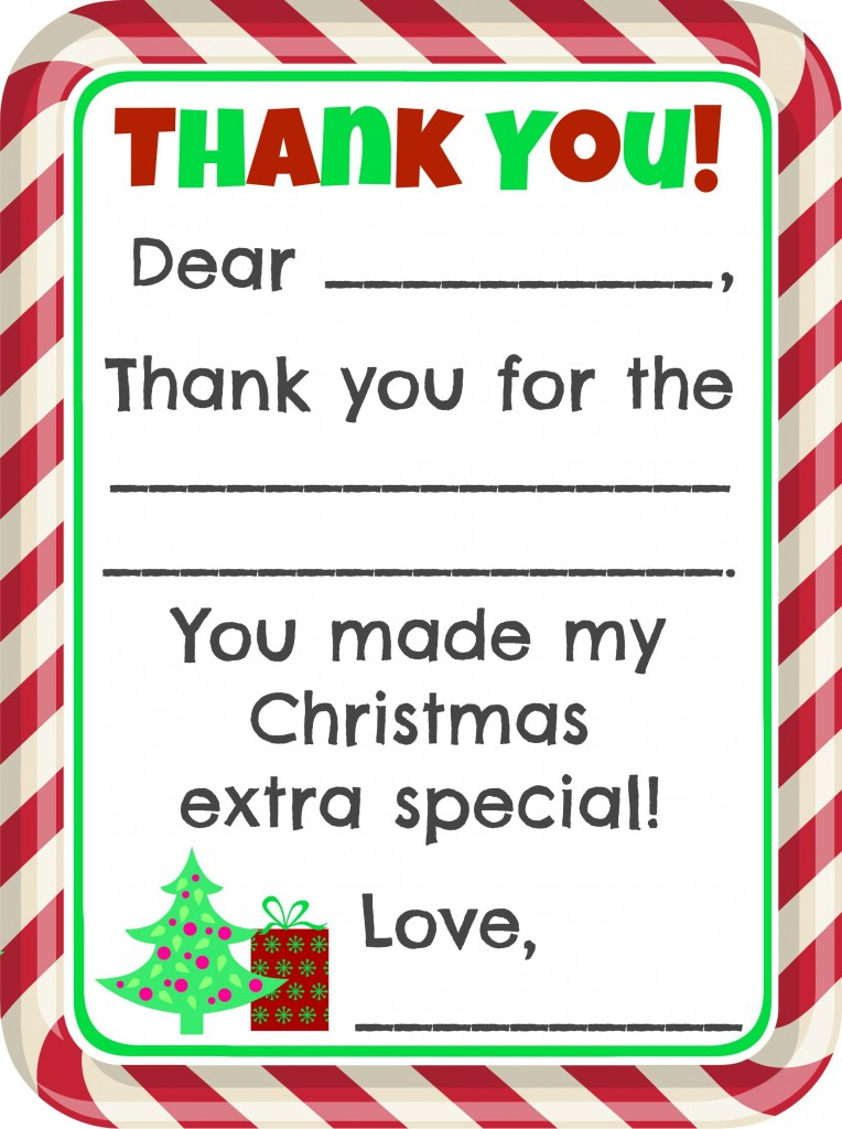 Free Fill-In-The-Blank Christmas Thank You Cards Printable - 24/7 Moms