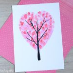Valentines Day Heart Fingerprint Tree Craft