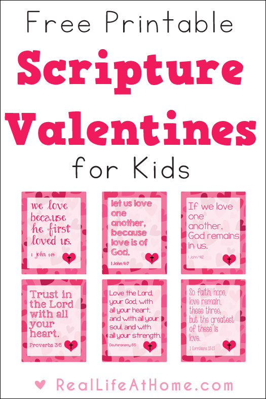 photograph about Free Printable Valentine Cards for Kids called Free of charge Non secular Valentine Playing cards for Youngsters Printables - 24/7 Mothers