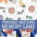 Free Cat Matching Memory Game For Kids Printable