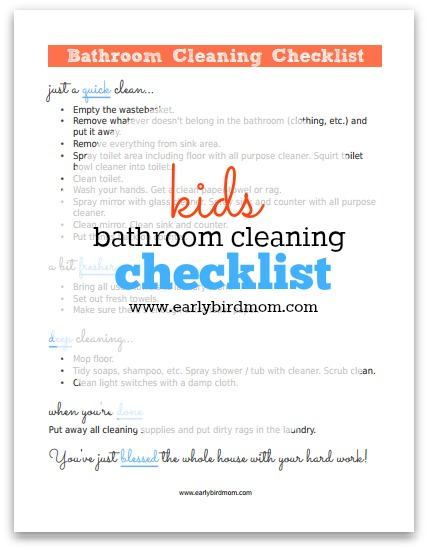 free kids bathroom cleaning checklist printable - Bathroom Cleaning Checklist