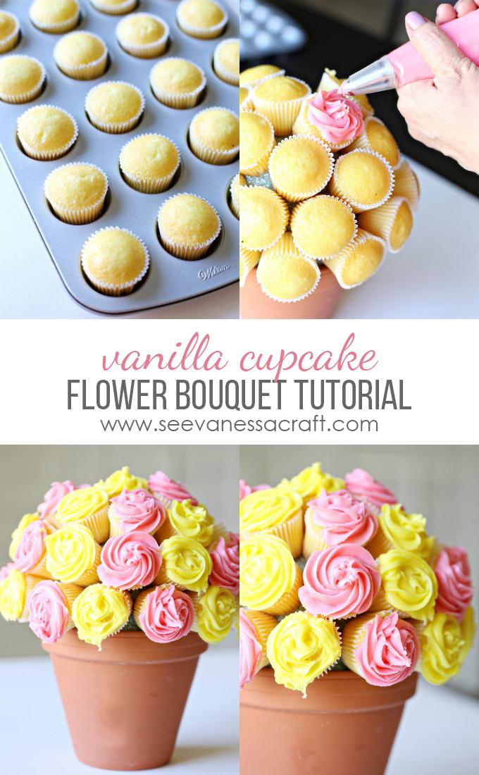 MOM Tip: Vanilla Cupcake Flower Bouquet Tutorial - 24/7 Moms