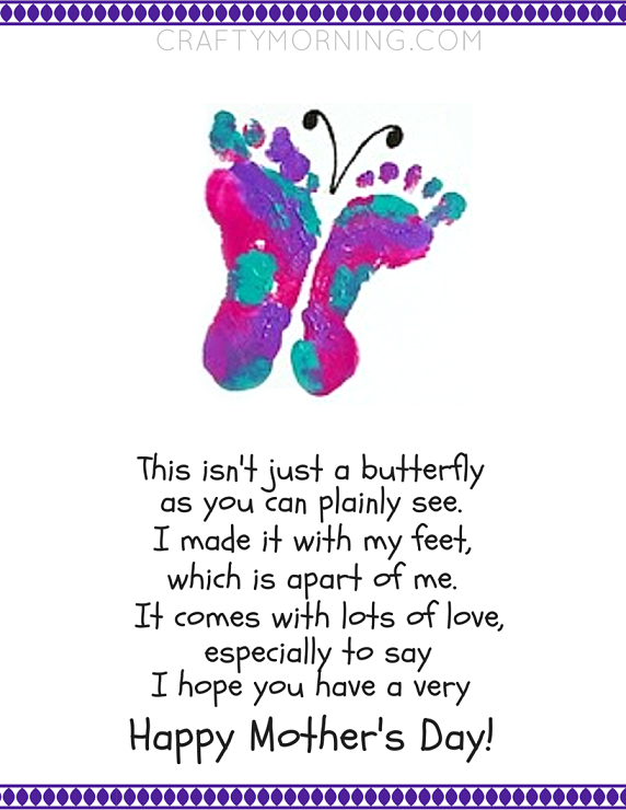 homemade valentine's day gifts for daddy from daughter - Free Footprint Butterfly Mother's Day Poem Printable 24