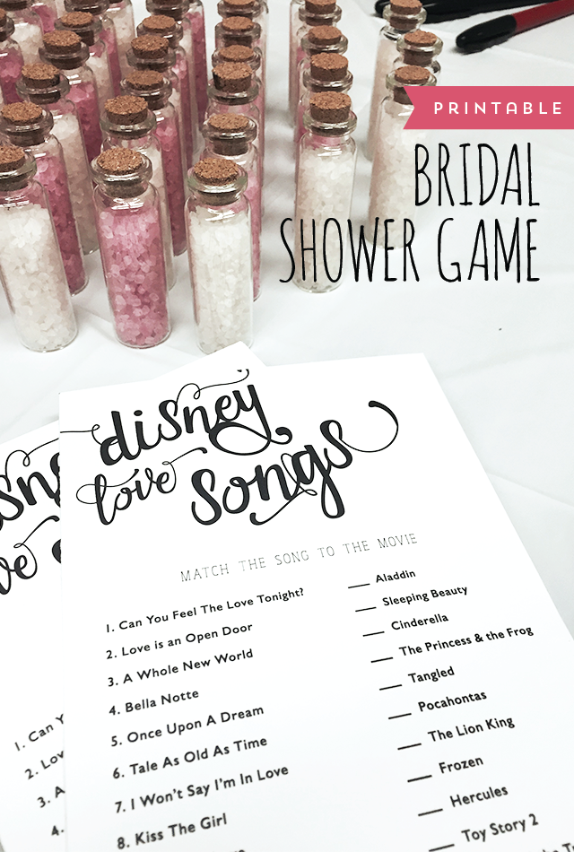 here is a fun game for a bridal shower just match the disney love songs to their movie