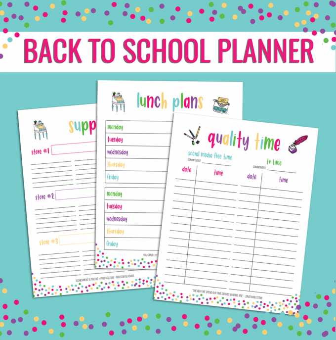 help yourself get organized with this back to school planner mini set from sweet planning printables it comes with tracking school supplies keep tracking