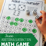 Free Addition and Subtraction Math Game Printable
