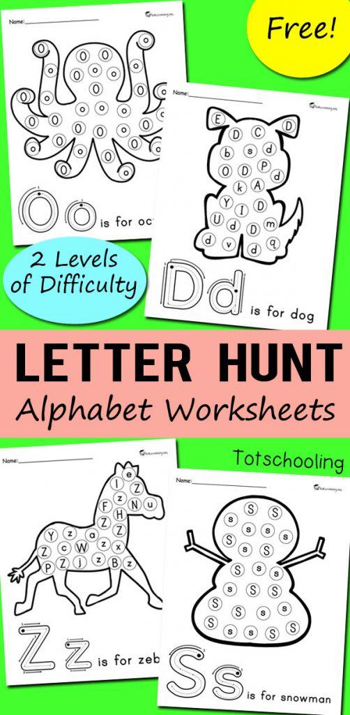 free alphabet letter hunt worksheet printables 24 7 moms. Black Bedroom Furniture Sets. Home Design Ideas