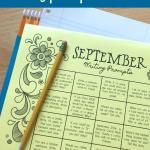 Free September Writing Prompt Calendar Printable