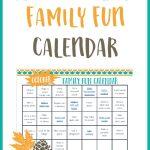 Free Family Fun Calendar Printable for October