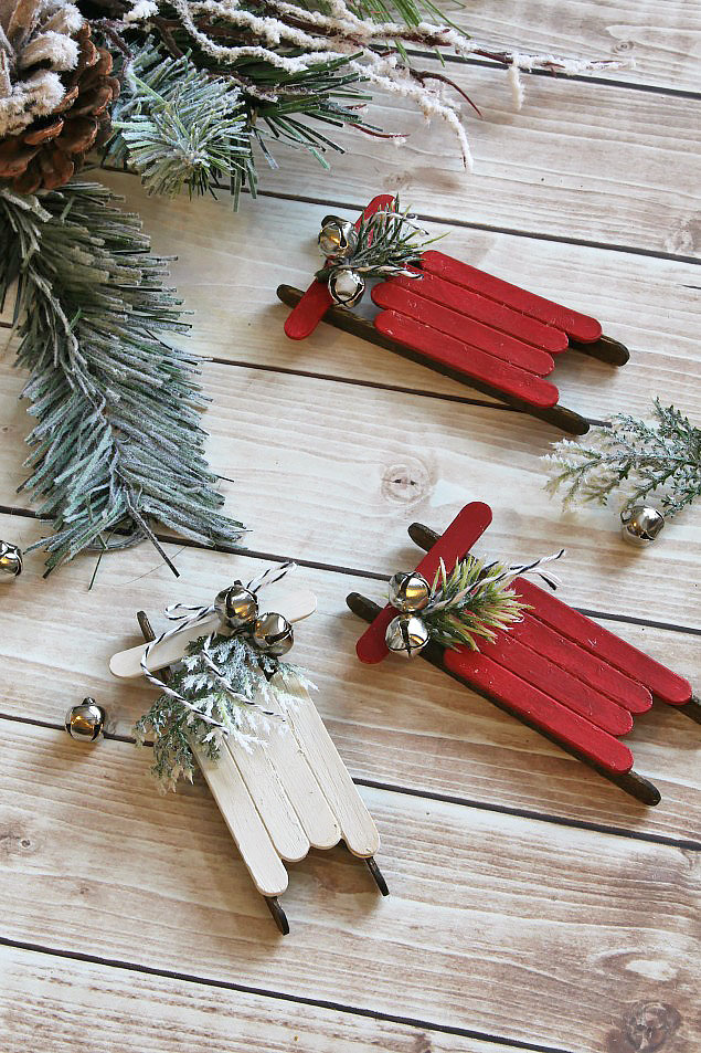 MOM Tip DIY Popsicle Stick Sled Ornaments