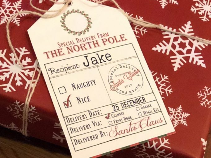 photo relating to Printable Santa Gift Tags called No cost Printable Santa Present Tags - 24/7 Mothers
