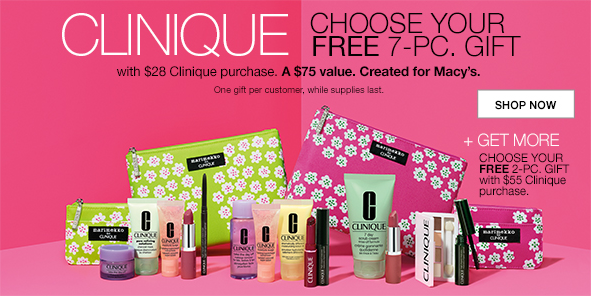 Macy's is offering a FREE 7-piece Clinique gift ($75 value) with any $28 Clinique purchase. There are two different styles of gift bags you can choose, ...