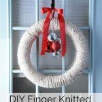 Finger Knitted Christmas Wreath