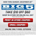 MOM Deal: $10 off $60 Purchase at Big 5 Sporting Goods