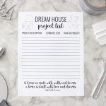 Dream House Project List Free Printable